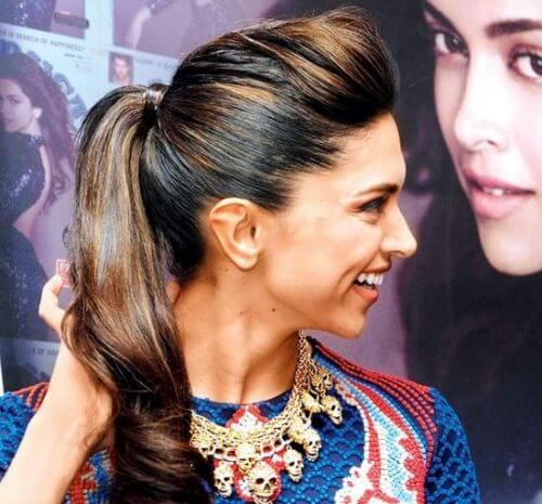 Deepika Padukone with puff and ponytail hairstyle