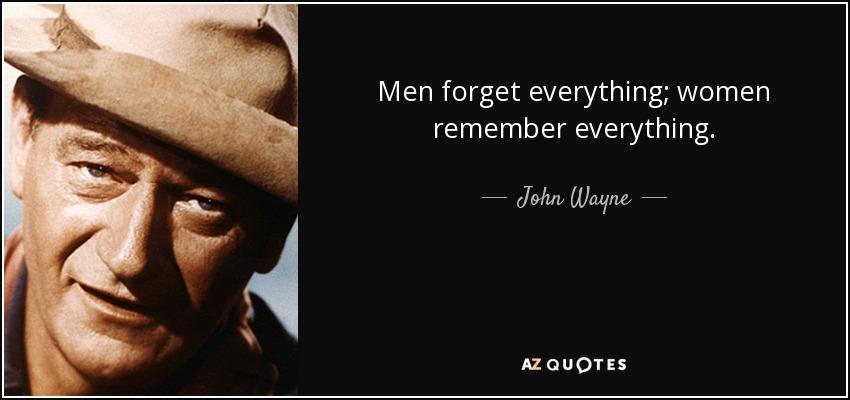 Men forget everything; women remember everything. - John Wayne