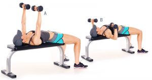 Image result for Dumbbell Bench Press woman